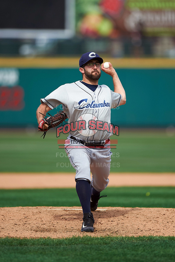 Columbus Clippers relief pitcher TJ House (36) delivers a pitch during a game against the Rochester Red Wings on June 16, 2016 at Frontier Field in Rochester, New York.  Rochester defeated Columbus 6-2.  (Mike Janes/Four Seam Images)