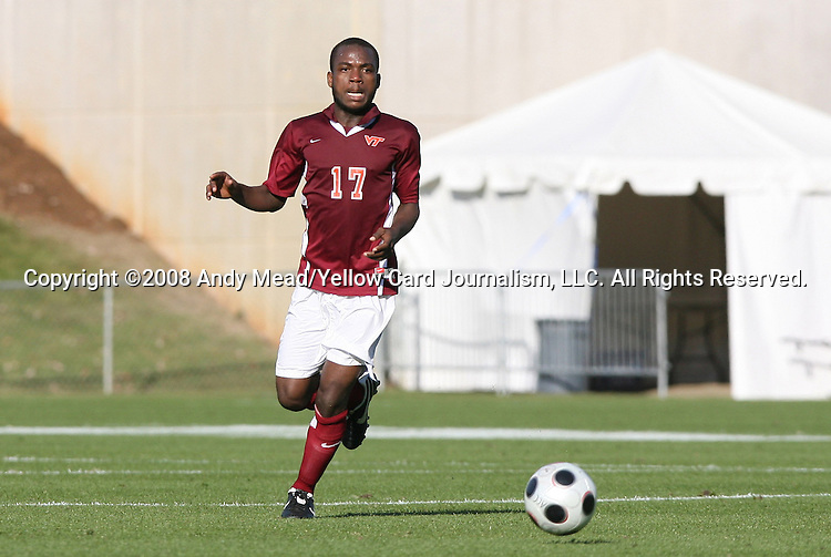 11 November 2008: Virginia Tech's Demanya Dogbey (GHA). North Carolina State University Wolfpack defeated the Virginia Tech Hokies 3-1 at Koka Booth Stadium at WakeMed Soccer Park in Cary, NC in a men's ACC tournament first round game.