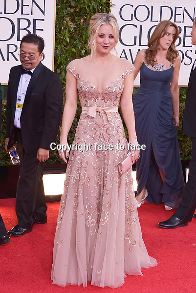 Kaley Cuoco arriving at the 70th Annual Golden Globe Awards held at The Beverly Hilton Hotel on January 13, 2013 in Beverly Hills, California...credit: face to face