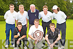 Competing in the John Molyneaux Shield junior golf championships in Beaufort on Thursday was front row l-r: Garret Collins Beaufort, Gavin Culloty Killarney, Fergal O'Shea. Back row: Darragh Carmody Tralee, Eoghain Sheehy Tralee, John Molyneaux Ballybunion, Ciara?n Crowley Tralee and Conor Ringland Tralee