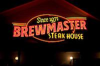 Brewmaster Steak House restaurant sign.  Indian Rocks Beach Tampa Bay Area Florida USA