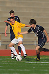 Torrance, CA 02/23/11 - Andrew Johnson  (West #7) and Bryan Breslin (Tesoro #11) in action during the second round CIF playoffs between Tesoro and West.