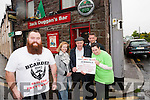 """Gary O'Dowd AKA the """"Bearded Man"""" from Castlemaine is raising funds for Console and SouthWest Counselling pictured with Edel Hobbert (SouthWest Counselling) Michael Healy Rae, Ciaran Austin (Console) and Aoife Angland."""