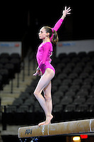 02/20/09 - Photo by John Cheng for USA Gymnastics. US gymnast Bridgette Caquatto performs on balance beam in a meet against US before the Tyson American Cup at Sears Centre Arena in Chicago.