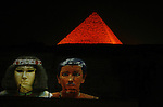 The Pyramids Sound and Light Shows, In a celebration that was attended by a number of prominent Egyptian and Chinese figures, in Giza January 5, 2011 . The first time the Chinese language in the Pyramids Sound and Light Shows. Photo by Wissam Nassar