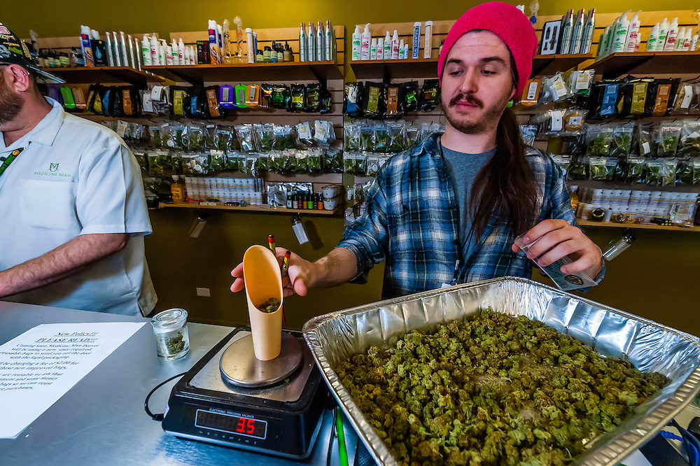 Recreational pot sales counter, Medicine Man Denver is the