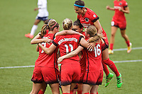 Portland, OR - Saturday, May 21, 2016: The Portland Thorns FC celebrate a goal. The Portland Thorns FC defeated the Washington Spirit 4-1 during a regular season National Women's Soccer League (NWSL) match at Providence Park.