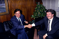File Photo - Montreal Mayor Jean Dore (R) meet Quebec Premier Robert Bourassa (L) on December 12,1986.<br /> Dore has been told he as a terminal pancreas cancer and 3 weeks to live , this September 2014.<br /> <br /> File Photo : Agence Quebec Pressse  - Pierre Roussel
