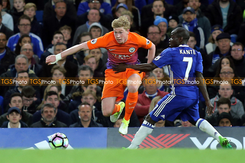 Manchester City's Kevin De Bruyne takes the ball past Chelsea's N'Golo Kante during Chelsea vs Manchester City, Premier League Football at Stamford Bridge on 5th April 2017
