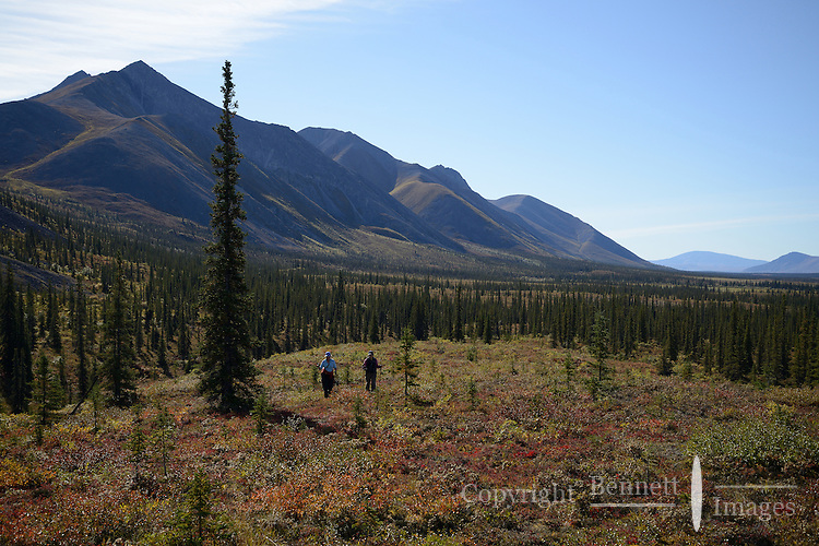 Cathy Hart and Georgia Bennett hike toward Ambresvajun (Last) Lake in the Sheenjek River valley, in the Arctic National Wildlife Refuge in late August. MR