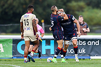 Joe Atkinson of London Scottish runs in for his second try during the Greene King IPA Championship match between London Scottish Football Club and Doncaster Knights at Richmond Athletic Ground, Richmond, United Kingdom on 30 September 2017. Photo by Jason Brown / PRiME Media Images.