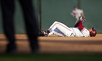 STANFORD, CA - May 10, 2011: Tyler Gaffney of Stanford baseball grimaces at second after being tagged out on a steal attempt during Stanford's game against Arizona at Sunken Diamond. Stanford won 1-0.