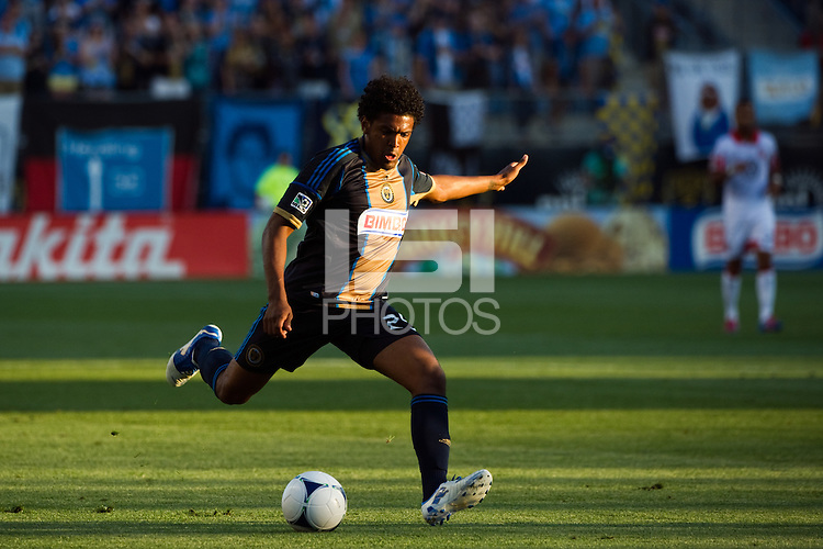 Sheanon Williams (25) of the Philadelphia Union. DC United defeated Philadelphia Union 1-0 during a Major League Soccer (MLS) match at PPL Park in Chester, PA, on June 16, 2012.
