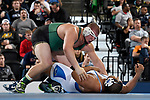 BIRMINGHAM, AL - MARCH 11:  Garrett Gray of Tiffin University takes on Kameron Teacher of Notre Dame College in the 285 lb weight division during the Division II Men's Wrestling Championship held at the Birmingham CrossPlex on March 11, 2017 in Birmingham, Alabama. (Photo by Jamie Schwaberow/NCAA Photos via Getty Images)