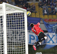 BOGOTA -COLOMBIA. 02-02-2014. Diego Novoa guardameta de La Equidad en accion contra Millonarios  durante el partido por la segunda fecha de La liga Postobon 1 disputado en el estadio El Campin. / Diego Novoa goalkeeper in actions against of  Millonarios  during the match for the second date of the Postobon one league match at El Campin  Stadium Photo: VizzorImage/ Felipe Caicedo / Staff