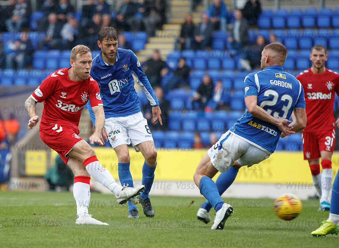 22.09.2019 St Johnstone v Rangers: Scott Arfield tests the keeper