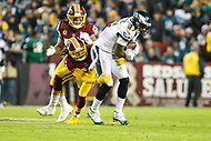 Landover, MD - December 30, 2018: Philadelphia Eagles wide receiver Alshon Jeffery (17) catches a pass during the  game between Philadelphia Eagles and Washington Redskins at FedEx Field in Landover, MD.   (Photo by Elliott Brown/Media Images International)
