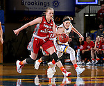 BROOKINGS, SD - FEBRUARY 4:  Ellie Thompson #45 from South Dakota State battles for the loose ball with Abigail Fogg #44 from the University of South Dakota during their game Saturday afternoon at Frost Arena in Brookings. (Photo by Dave Eggen/Inertia)