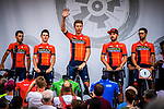 Bahrain-Merida introduced on stage at the Team Presentation before Stage 1 of the Deutschland Tour 2019, running 167km from Hannover to Halberstadt, Germany. 29th August 2019.<br /> Picture: ASO/Henning Angerer | Cyclefile<br /> All photos usage must carry mandatory copyright credit (© Cyclefile | ASO/Henning Angerer)