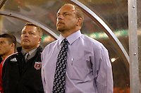 DC United Head Coach Tom Soehn. DC United defeated CD Olimpia 3-2 to advance to the semi finals of the CONCACAF Champions' Cup. March 1, 2007 at RFK Stadium in Washington DC.