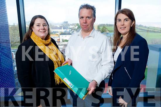Aisling O'Sullivan Darcy, Sean de Buitléar and Maureen O'Donnell (Rural Development Co-Ordinator) in SKDP in Killorglin on Monday.