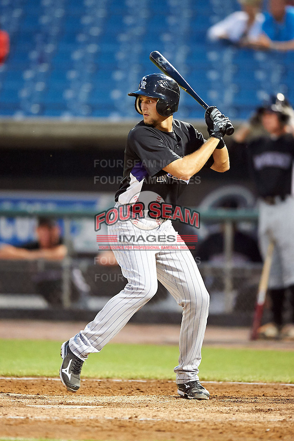 Kameron Gellinger #2 of Island Coast High School in Cape Coral, Florida playing for the Colorado Rockies scout team during the East Coast Pro Showcase at Alliance Bank Stadium on August 2, 2012 in Syracuse, New York.  (Mike Janes/Four Seam Images)