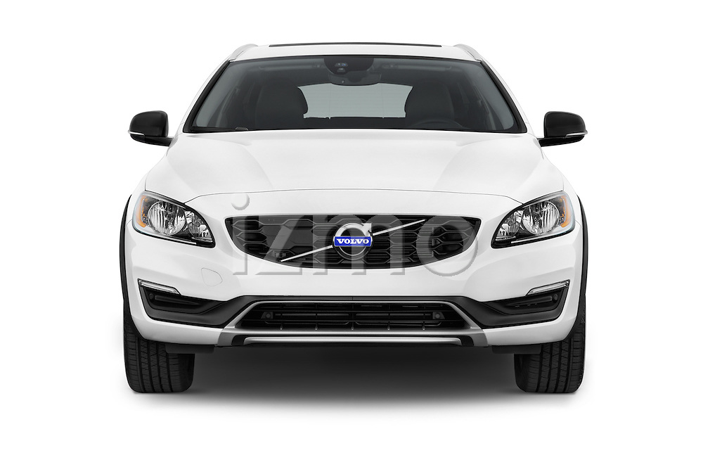 Car photography straight front view of a 2017 Volvo V60 T5-Cross-Country 5 Door Wagon Front View