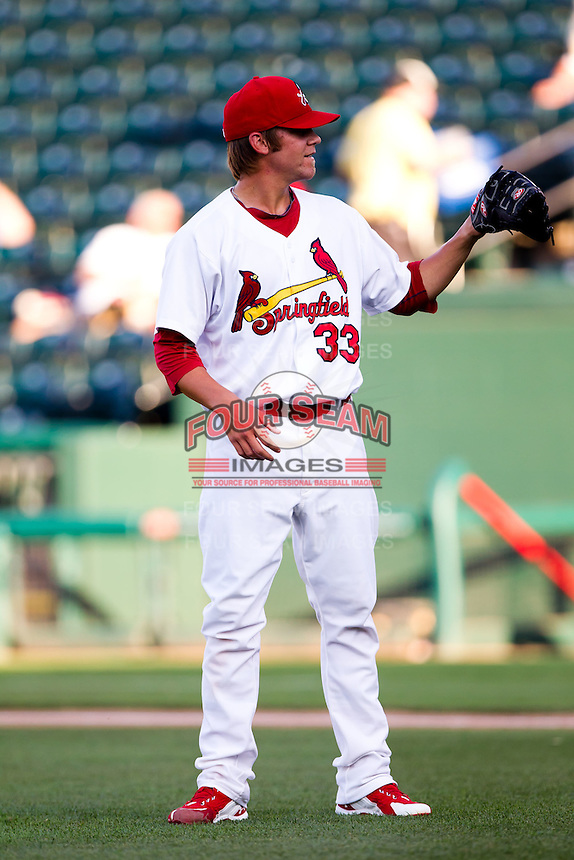 Michael Blazek (33) of the Springfield Cardinals waits for a ball from the umpire during a game against the Tulsa Drillers at Hammons Field on July 19, 2011 in Springfield, Missouri. Tulsa defeated Springfield 17-11. (David Welker / Four Seam Images)