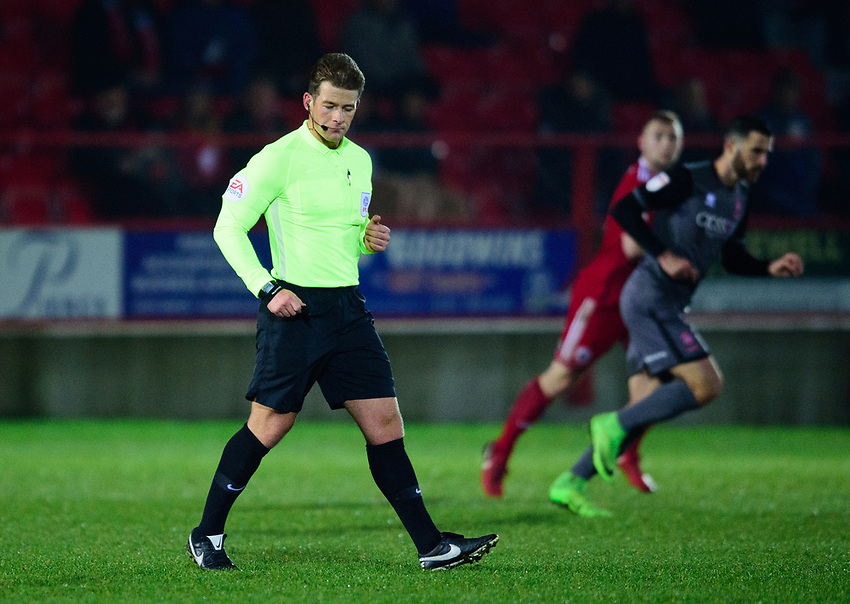 Referee Anthony Backhouse<br /> <br /> Photographer Andrew Vaughan/CameraSport<br /> <br /> The EFL Checkatrade Trophy Second Round - Accrington Stanley v Lincoln City - Crown Ground - Accrington<br />  <br /> World Copyright © 2018 CameraSport. All rights reserved. 43 Linden Ave. Countesthorpe. Leicester. England. LE8 5PG - Tel: +44 (0) 116 277 4147 - admin@camerasport.com - www.camerasport.com