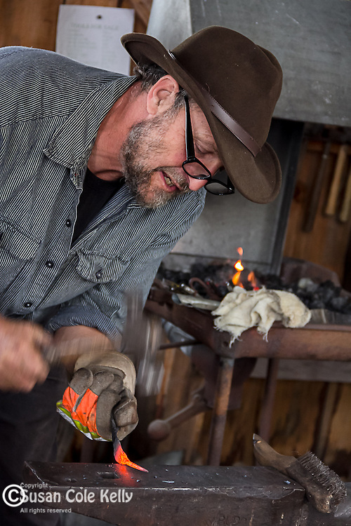 A blacksmith at the Common Ground Fair in Unity, Maine, USA