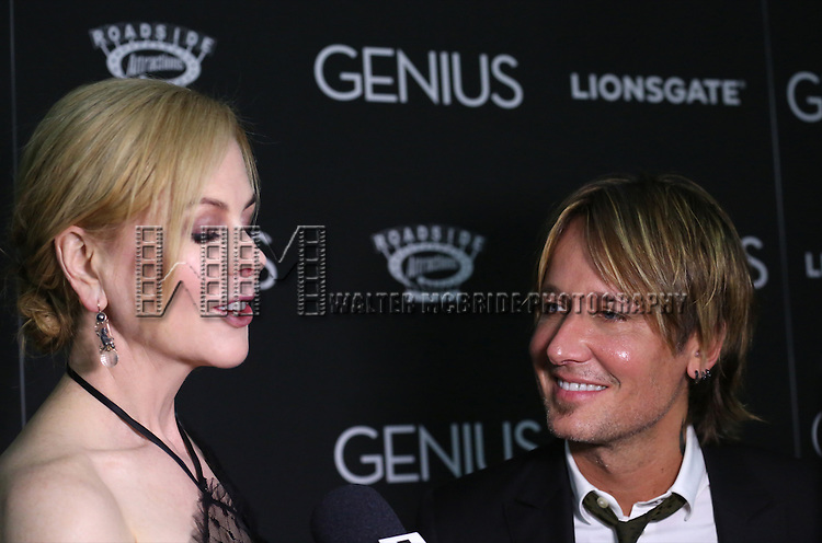 Nicole Kidman and Keith Urban attends 'Genius' New York premiere at Museum of Modern Art on June 5, 2016 in New York City.