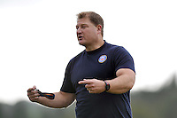 Forwards coach Neal Hatley addresses his players. Bath Rugby training session on October 17, 2013 at Farleigh House in Bath, England. Photo by: Patrick Khachfe/Onside Images
