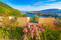 Stolzenfels Castle view ,  Rhine River, Germany , Rhineland Region. 13th Century Castle Upper Middle Rhine Valley UNESCO World Heritage Site