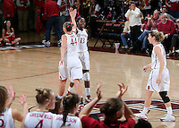 STANFORD, CA - January 27, 2013: Stanford Cardinal's Chiney Ogwumike and Joslyn Tinkle during Stanford's 69-56 victory over the Colorado Buffaloes at Maples Pavilion in Stanford, California.