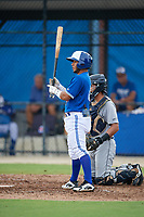 GCL Blue Jays Yhon Perez (6) bats during a Gulf Coast League game against the GCL Tigers West on August 3, 2019 at the Englebert Complex in Dunedin, Florida.  GCL Blue Jays defeated the GCL Tigers West 4-3.  (Mike Janes/Four Seam Images)