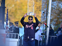 Washington, DC - November 2, 2019: Washington Nationals' manager Dave Martinez enters the stage with the World Series trophy during a rally for the Washington Nationals in Washington, D.C. November 2, 2019. The team won the World Series Championship against the Houston Astros.   (Photo by Don Baxter/Media Images International)