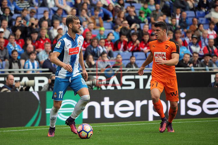 League Santander 2016/2017. Game: 9.<br /> RCD Espanyol vs SD Eibar: 3-3.<br /> Leo Baptistao vs Ander Capa.