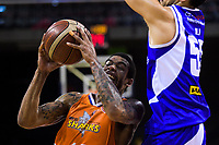 Orlando Coleman (Sharks) in action during the national basketball league final  between Wellington Saints and Southland Sharks at TSB Bank Arena in Wellington, New Zealand on Sunday, 5 August 2018. Photo: Dave Lintott / lintottphoto.co.nz