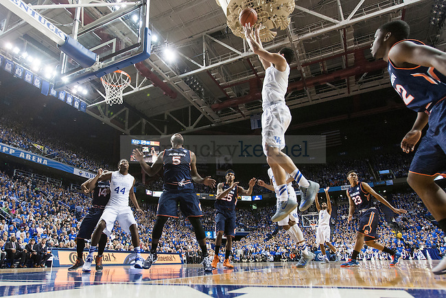 Freshman guard Devin Booker of the Kentucky Wildcats shoots a floater during the game against the Auburn Tigers at Rupp Arena on Saturday, February 21, 2015 in Lexington, Ky. Kentucky defeated Auburn 110-75. Photo by Michael M Reaves | Staff.