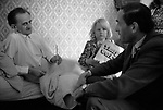 """Thorpe works for us."" Jeremy Thorpe on the election campaign trail mid Devon constituency 1979 . Visiting sick constituent. This man is in a day bed and is unwell, daughter has a Thorpe works for us flyer."