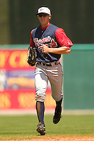 Rome Braves center fielder Jordan Schafer (#11) hustles off the field between innings versus the Kannapolis Intimidators at Fieldcrest Cannon Stadium in Kannapolis, NC, Tuesday, April 18, 2006.  Rome defeated Kannapolis 6-4.