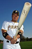 Feb 28, 2010; Bradenton, FL, USA; Pittsburgh Pirates  infielder Aki Iwamura (3) during  photoday at Pirate City. Mandatory Credit: Tomasso De Rosa/ Four Seam Images