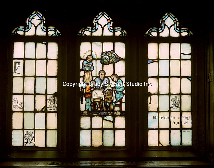 East Liberty section of Pittsburgh PA:  East Liberty Presbyterian Church's Session Room - 1977. This image is included in the book; The Art and Architecture of the East Liberty Presbyterian Church.  This window was created in the studios of Henry Lee Willett of Philadelphia.  The theme of the various windows deals with religion at home.