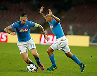 Marek Hamsik and Miguel Allan during the Champions League Group  soccer match between SSC Napoli and   Dinamo Kiev  at the San Paolo  Stadium inNaples November 24, 2016