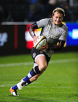 Jack Wilson of Bath Rugby with the ball during the pre-match warm-up. Anglo-Welsh Cup match, between Bath Rugby and Leicester Tigers on November 4, 2016 at the Recreation Ground in Bath, England. Photo by: Patrick Khachfe / Onside Images