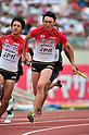(L to R) Masashi Eriguchi (JPN), Shinji Takahira (JPN), JULY 8, 2011 - Athletics :The 19th Asian Athletics Championships Hyogo/Kobe, Men's 4x100m Relay Round 1 at Kobe Sports Park Stadium, Hyogo ,Japan. (Photo by Jun Tsukida/AFLO SPORT) [0003]