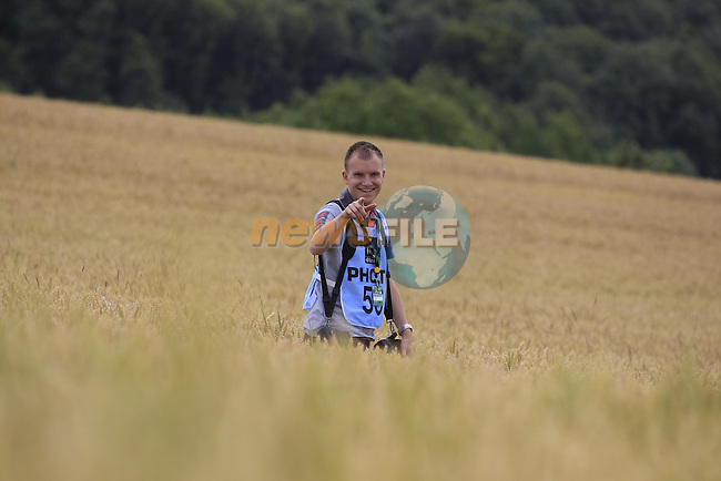 Thomas Van Bracht Peleton Photos stuck in acorn field rural landscape near Bemont during Stage 4 of the 2014 Tour de France running 163.5km from Le Touquet to Lille. 8th July 2014.<br /> Picture: Eoin Clarke www.newsfile.ie