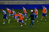 Argentina soccer coach Alejandro Sabella (3rd-Right) gives instructions to his players during a practice at Red Bull stadium ahead of his friendly match against Ecuador in New Jersey, Nov 13, 2013. VIEWpress/Eduardo Munoz Alvarez