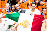Real Madrid's player Gustavo Ayon with the Mexican Flag during the celebration of the championship at Barclaycard Center in Madrid. June 20, 2016. (ALTERPHOTOS/BorjaB.Hojas)