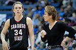 06 February 2008:  Aztec head coach, Beth Burns, gives instructions to forward, Allison Duffy (34) during San Diego State's 62-45 Mountain West Conference victory over the Air Force Falcons at Clune Arena, Air Force Academy, Colorado Springs, Colorado.